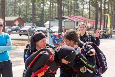 Walking a skydive at women's leadership camp