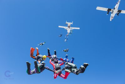 Two plane formation skydive at P3 biway camp